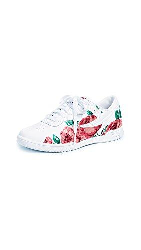 Sneakers White Fila (Fila Women's Original Embroidery Sneakers, White/Desert Flower/White, 8.5 B(M) US)