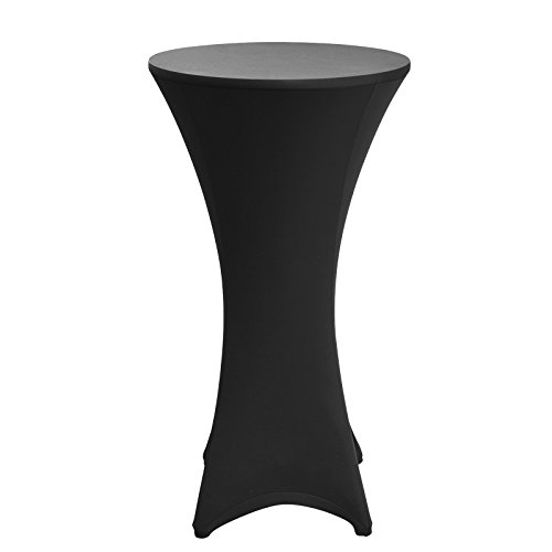 Black Round Bar Table (vLoveLife Black 32'' Lycra Stretch Cocktail Poseur Dry Bar Spandex Table Cover Round Table Cloth Wedding Party Event Decoration)