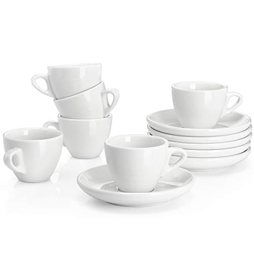 Sweese 4304 Porcelain Espresso Cups with Saucers - 2 Ounce - Set of 6, White ()