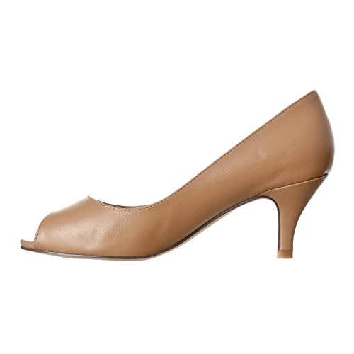 Toe Heel Riverberry Women's Kitten Pu Lydia Open Taupe Peep Pumps 71wxvO1Iq