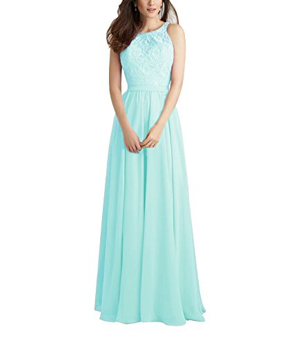Beauty Bridal Scoop Neckline Backless A line Chiffon Evening Gowns Prom Party Dresses Long L087 (2,Mint Blue)