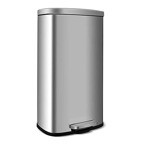 HEMBOR 8 Gallon(30L) Trash Can, Brushed Stainless Steel Rectangular Garbage Bin with Lid and Inner Buckets, Soft Step Slow and Silent Open Close Dustbin, Suit for Home Bathroom, Kitchen and Office