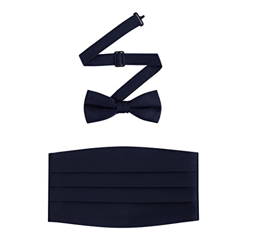 Men's Formal Satin Bowtie and Cummerbund Set - Navy, By S.H - Cummerbund Navy