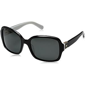 Kate Spade Women's Annora/Ps Polarized Rectangular Sunglasses, Black White/Gray Polarized, 54 mm