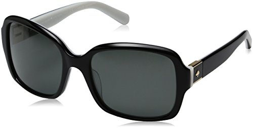 Kate Spade Women's Annora/Ps Polarized Rectangular Sunglasses, Black White/Gray Polarized, 54 mm