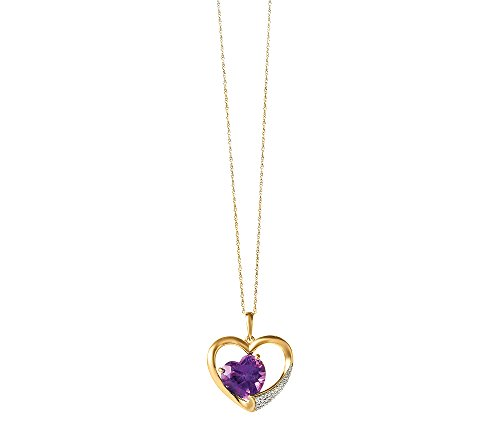 10k Yellow Gold Amethyst Heart Pendant With 0.08 Ct. T.W. Diamond Accents