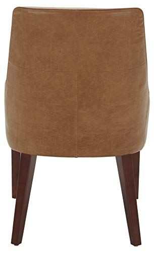 """Amazon Brand – Rivet Contemporary Welt-Trimmed Dining Chair, 35""""H, Cognac, Set of 2 - The understated welt trim provides a decorative element to this simple but chic dining chair. The cognac-colored leather upholstery will blend with any color scheme and is durable and low maintenance. A solid wood frame and legs support this comfortable, low-armed seat. 23""""W x 25""""D x 35""""H; seat height: 20""""H; seat depth: 17""""D; seat back height: 15""""H Set of 2 - kitchen-dining-room-furniture, kitchen-dining-room, kitchen-dining-room-chairs - 31Cn0y%2BLP4L -"""