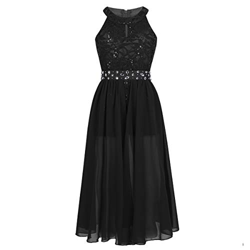 iEFiEL Girls Halter Lace Chiffon Flower Wedding Bridesmaid Dress Junior Ball Gown Formal Party Pageant Maxi Dress Black Floor Length 10 ()