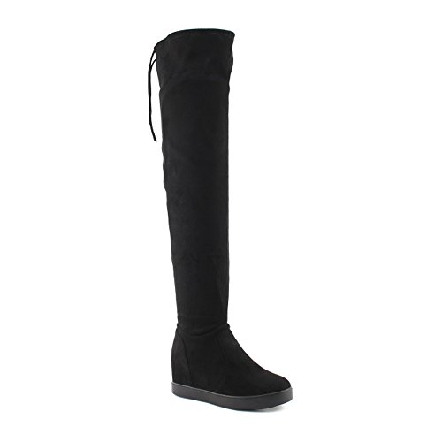 (ShoBeautiful Women's Hidden Wedge Over The Knee Boots Round Toe Slip On Back Tie Platform Thigh High Boots Black 10)