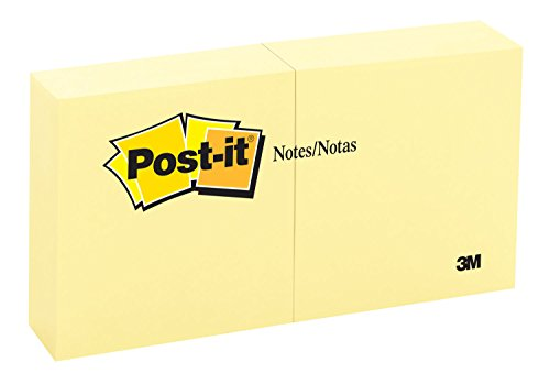 Post-it Notes, 3 in x 3 in, Canary Yellow, 6 Pads/Pack, 100 Sheets/Pad (654-6YW) by Post-it