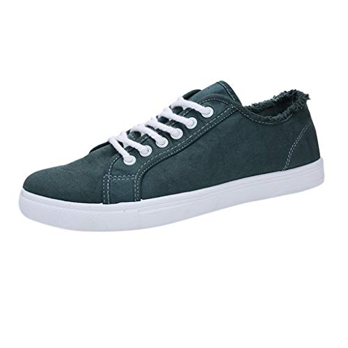 - iHPH7 Sneaker Tennis Fashion Shoes Fashion Leisure Sneakers Shoes Teenager Shoes Student Canvas Shoes Men (42,Green)