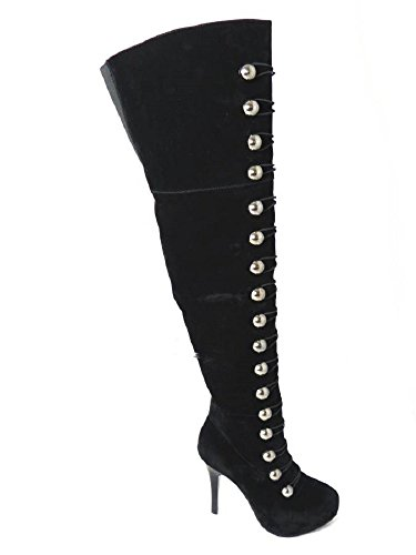 Stiletto Genou Plateforme Fuax Haute Pour Black Bottes Suede Cuisse Mesdames Femme Taille Sur Noir Talon Le z8wXq8