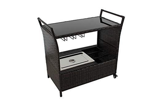Outdoor Patio Brown Wicker Rattan Chest Portable Bar Cart on Rolling Wheels with Stainless Ice Bucket, Wine Rack and Buttom Storage