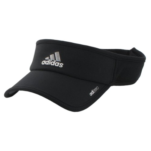 Adidas Mens Visor - adidas Men's Adizero Visor, Black/White, One Size Fits All