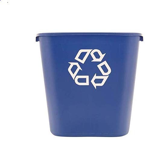 Deskside Container Recycling - Rubbermaid FG295673 Blue Medium Deskside Recycling Container with Universal Recycle Symbol, 28-1/8 qt Capacity, 14.4
