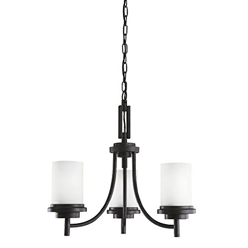Sea Gull Lighting 31660-839 Winnetka Three-Light Chandelier with Satin Etched Glass Shades, Blacksmith Finish