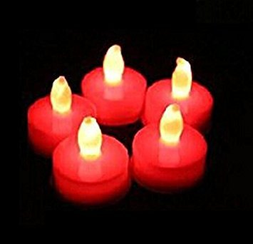 Liroyal Set of 12 Red LED Candles, Flameless Tea Lights for Decoration, Festivals, Weddings with Batteries