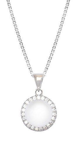 Sterling Silver Cubic Zirconia Freshwater Pearl Diana Necklace Pendant With 18