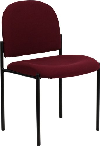 Flash Furniture Comfort Burgundy Fabric Stackable Steel Side Reception Chair
