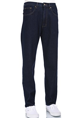 Eagle blue jeans - Men basic work Indigo blue denim jeans straight leg fit 32W X - Eagle Work Clothes