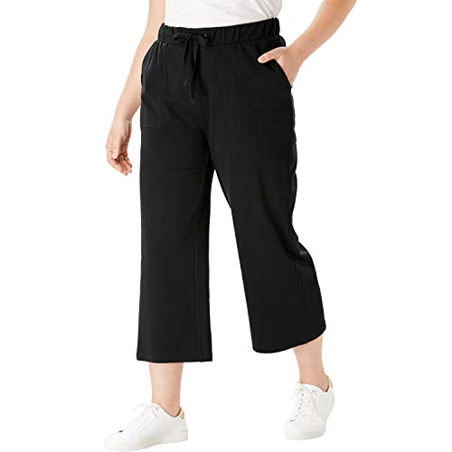 (Roamans Women's Plus Size Wide-Leg Crop French Terry Pant with Drawstring Waist - Black, 18/20 )