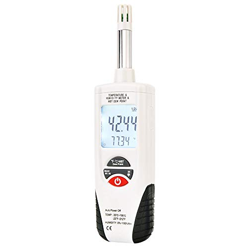 Hygro-Thermometer Psychrometer,Handheld Digital Humidity Temperature Meter with Backlight Large LCD Display and Auto Power Off, Dual Display Temperature & Humidity, Battery Included,Hti-Xintai by Hti-Xintai