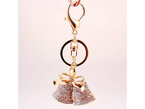 Huasen Car Keychain, Creative Diamond Ribbon Christmas Bell Keyring Handbag Purse Pendent Keychain for Christmas(Gold) for - Gold Bells Diamond