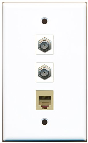 RiteAV - 2 Port Coax Cable TV- F-Type and 1 Port Phone RJ11 RJ12 Beige Wall Plate ()