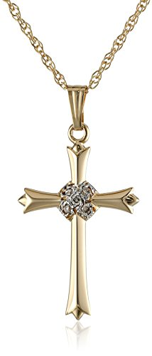 14k Yellow Gold Cross with Diamond-Accent, (0.375 ct), 18″