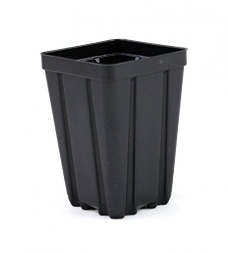 Square Greenhouse Pots 3.5 inch x 5 inch- Black - Plastic - Deep - Qty 100 by Growers (Square Greenhouse Pots)