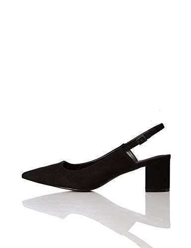 Amazon Brand - find. Women's Slingback Pump Black, US 10.5 Block Heel Slingback Pump