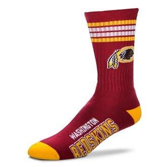 NFL 4 Stripe Deuce Crew Socks Mens-Washington Redskins-Size Large(10-13)