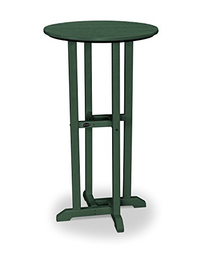 POLYWOOD Traditional 24-Inch Round Bar Height Table, Green