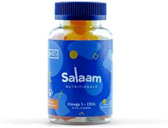 Salaam Nutritionals Halal Gummy Omega 3 + DHA – Healthy, All Natural Children's Supplement – Supports Brain and Immune Function – Fish Free, Plant Based, Vegan & Kosher (60 Count)