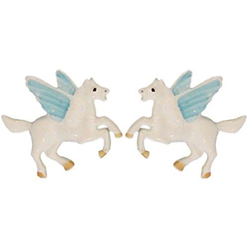Vintage Enamel Pegasus Stud Earrings, Quality Made in USA!, in -