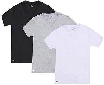 LACOSTE 3 Pack Camiseta hombre, con cuello en V, corte slim, colores lisos - Negro / Gris / Blanco: : Medium