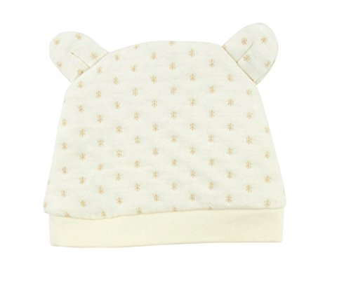 Organic Cotton Unisex Baby Cotton Knit Pajama Cap Soft Cute Ear Hat Beanie, All Natural Dye-Free (Beige)