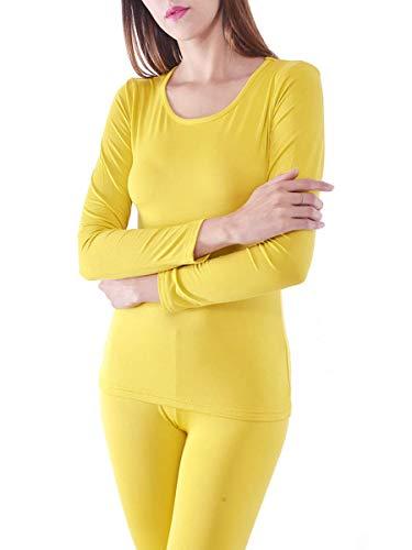 Yellow Gift (Women's Microfiber Fleece Thermal Underwear Long Johns AZ 2000 Yellow L)