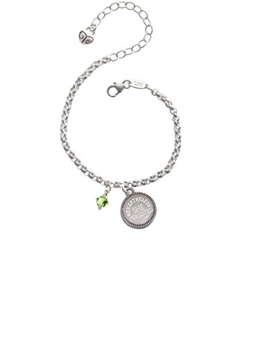 (August - Lime Green - 6mm Crystal Bicone Nevertheless She Persisted Engraved Bracelet)