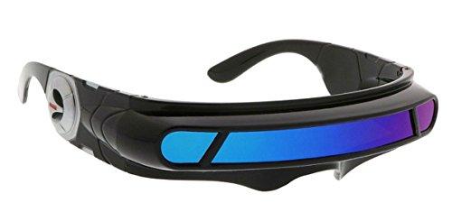 WebDeals - Futuristic Cyclops Wrap Around Monoblock Shield Sunglasses (Black, Blue/Green Revo)]()