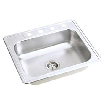 Elkay Neptune Top Mount Stainless Steel 25x22x7 4-Hole Single Bowl ...