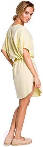 Made of Emotion Mini Robe en coton à manches chauve-souris Jaune