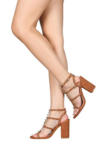 Alrisco Women Studded Strappy Caged Open Toe Chunky Heel RC55 - Cognac Leatherette (Size: 8.0)