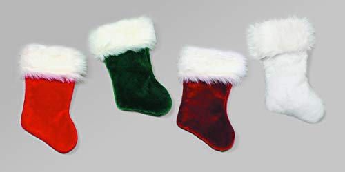 The Costume Center Green and White Velvet Plush Christmas Stocking with Faux Fur Cuff 21""