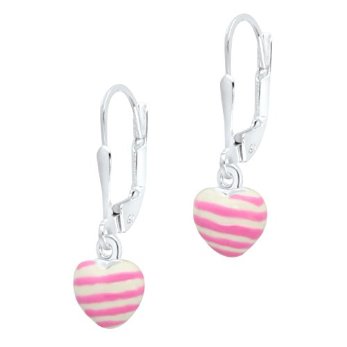 UNICORNJ Sterling Silver 925 Childrens Earrings Leverback with Enamel Pink Striped Heart Charm Italy (Childrens Earrings Heart Leverback)
