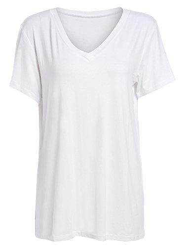 White V-neck Tee (Floerns Women's V Neck Short Sleeve Casual T-shirt Large White)