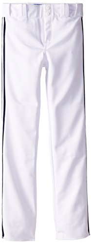 Louisville Slugger Boy's Triple-Crown Heavy Nylon Boot Cut with Braid Trim Pants, White/Navy Braid, (Bootcut Double Knit)