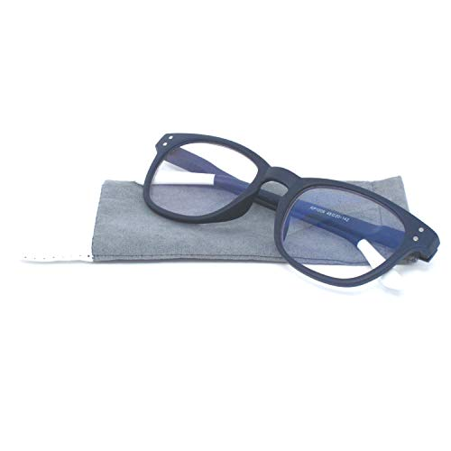 Anti Blue Light and Anti Block Glare Pro Computer Retro Reading Glasses Unisex Readers with Pouch for Men & Women - Choose Your Magnification (Navy Blue, 0.00 Strength)