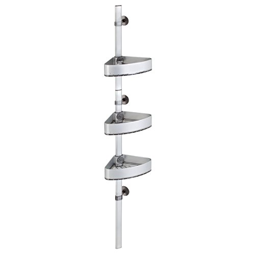 iDesign AFFIXX Strong Self-Adhesive Metro Ultra Rustproof Aluminum Adjustable Corner Shower Station for Bathroom - Silver/Smoke by iDesign