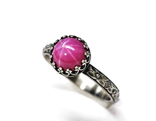 Ring Ruby Star - Size 7 8mm Created Pink Star Ruby Sterling Silver Ring Symmetrical Flower Band Crown Bezel Antique Finish